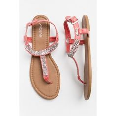 Silver bling t-strap coral sandals