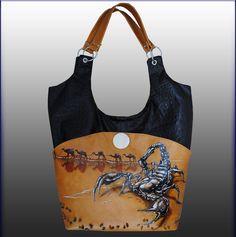 bag, ledile, авторская работа, аксессуар, Златоуст, роспись по коже, ручная работа, скорпион