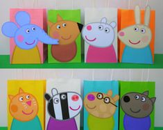 PRINTABLE--> Peppa Pig Friends Favor Bags/ Birthday Party Favors/ Goodie/ Goody/ Loot/ Treat/ Candy/ Gift/ Bags/ Bag/ Fiesta Cerdita Peppa