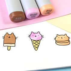 "⭐️KiraKiraDoodles on Instagram: ""Pick your kitty dessert! I think I would go for the kitty ice cream bar ☺️ because it's chocolate and hazelnut flavor • • #kawaii…"""