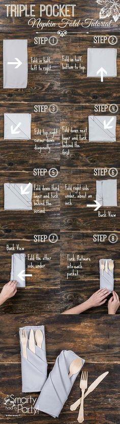 まず左から右へナプキンを縦半分に折ります。 次に下から上へ半分に折ります。 そして一番上のナプキンを右上コーナーを写真の③のように折ります。 続いて二枚目を④のように折り、コーナーを一枚目の中に入れ込みます。 三枚目も同じ要領で繰り返します。 その後、右側を裏返すように折ります。同じく左側も裏返すように折り、ポケット部分にコーナーを入れて固定します。 これで完成!ポケットにはカトラリーを入れて使います。