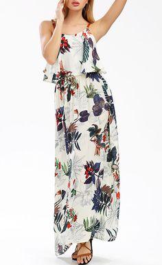 d87a29c435d Elastic Waist Sleeveless Printed Maxi Dress Bohemian Dresses Short