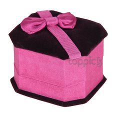 Bowknot Velvet Ring Earring Jewelry Package Gift Box Case Fuchsia
