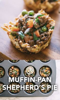 Muffin pan Shepherd's pie recipe. Comfort food at its finest! Hearty meat and vegetables under a mashed potato crust. This upside-down version, made in a muffin pan and baked in frozen shredded potato bits shaped into cups, is FAST and EASY to make on a weeknight for dinner. Fill the tin to the top with filling and your meal is ready to serve!