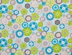 Excited to share the latest addition to my #etsy shop: Sewing Room Buttons Aqua Blue Fabric, Amanda Murphy, Benartex Fabrics, Green Teal Grey Cotton Quilting Sewing Apparel Fabric by the Yard