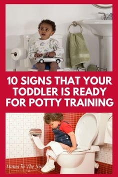 Do you have a toddler and want to potty train, but aren't sure if they are ready? Take a look at these 10 signs that your toddler is ready for potty training. Making sure that they are ready is one of the best ways to ensure quick success in the potty training journey. Learn the signs from a mother that has been down that road 4 times now. Learn the signs and have success in potty training your toddler in less time and with less stress for both of you. #pottytraining #howto #tips #mom…