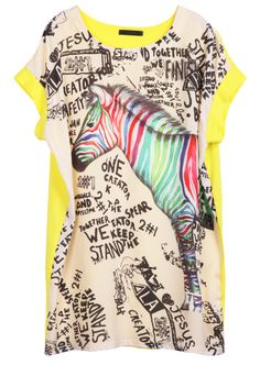 Yellow Short Sleeve Horse Print T-Shirt - Sheinside.com