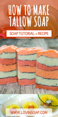 This is a recipe and tutorial on how to make tallow soap with a layered, pencil line design and natural soap colorants.