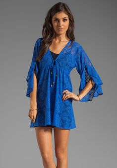 T-BAGS LOSANGELES Bell Sleeve Mini Dress in Royal at Revolve Clothing