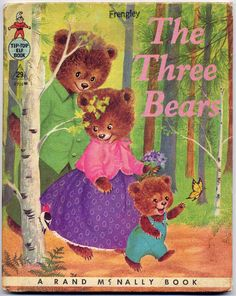 Vintage 1950s 'The Three Bears' Tip Top Elf Hardcover Book--Sweet Color Illustrations