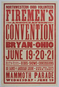 Sweet typography; sorta country rustic look; maybe I could design us something funnnn like this?!?! | 1920s Firemen poster