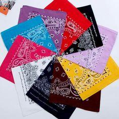 FuzWeb Cotton 55cm 55cm Black Red Paisley Printed Bandanas For Women Men  5625dfdb6ef