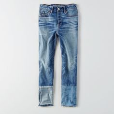 AE Denim X Vintage Hi-Rise Jean ($50) ❤ liked on Polyvore featuring jeans, blue, american eagle outfitters jeans, vintage denim jeans, cuff jeans, stretchy jeans and denim jeans