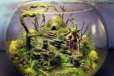 Yoda Bowl Deluxe Zen Garden Dagobah Terrarium / by Terrarium Scene, Fairy Terrarium, Hanging Terrarium, Moss Terrarium, Terrarium Ideas, Island Moos, Bonsai, Miniature Zen Garden, Star Wars Room