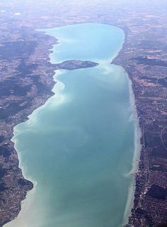 Swim across the lake Balaton. / Hungary: Lake Balaton from above Places Around The World, Oh The Places You'll Go, Places To Travel, Places To Visit, Around The Worlds, Wonderful Places, Beautiful Places, Hungary Travel, Heart Of Europe
