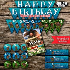 Maui Birthday Party Pack Bundle Disney Moana Vaiana Birthday Boy Decor Kit Instant Download Printable Customized Personalized DIY by OutlawDesignCo