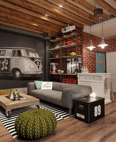 What a great space! Industrial loft style, with a brick wall and mural plus tall ceiling with beams
