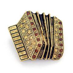 Topaz Brass Accordion Pin Music Brooch Pin