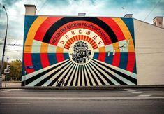 Shepard Fairey for Artmossphere in Moscow, Russia, 2018 Shepard Fairy, Street Art, Russian Constructivism, Chicago Cubs Logo, Graffiti Art, Urban Art, Contemporary Art, Painting, Moscow Russia