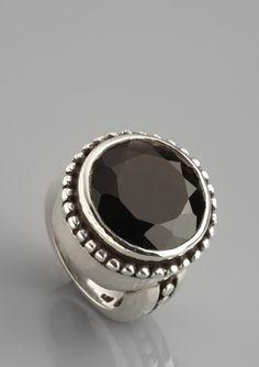 ideeli   femme metale sale Smokey Quartz Ring