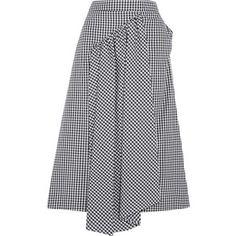 Simone Rocha Asymmetric gathered gingham cotton-poplin midi skirt