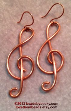 copper artisan sculpted treble clef earrings for the music lover artisan crafted by lovethembeads, $14.00