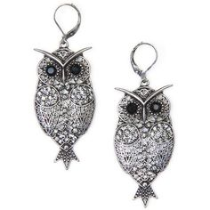 MANGO Owl Earrings ($12) ❤ liked on Polyvore