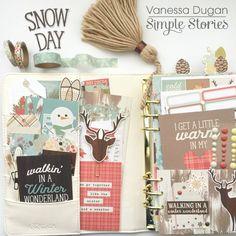 Carpe Diem planner spread from creative team member Vanessa Dugan using our Winter Wonderland collection