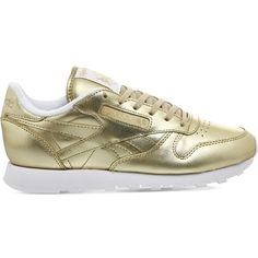 REEBOK Classic leather trainers ($86) ❤ liked on Polyvore featuring shoes, sneakers, light gold face, reebok shoes, metallic shoes, lacing sneakers, leather shoes and leather trainers