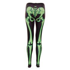Insanity Skeleton Leggings (Black/Green)
