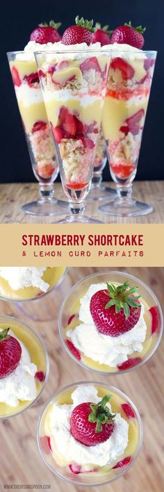 YUM! An easy recipe for strawberry shortcake parfaits layered with a bright, sweet & creamy lemon curd. This dessert is absolute BLISS in every bite and it's beautiful, as well! | real food recipe | spring | summer | naturally sweetened | grain-free, gluten-free & dairy-free options |