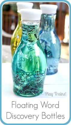 Floating Word Discovery Bottles @ Play Trains! http://play-trains.com/ Create a beautiful, relaxing bottle of swirling and floating words to inspire curiosity in young children and creativity in older kids to adults.