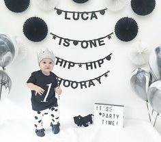 Black and white baby birthday