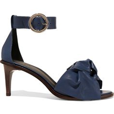 Tibi - Desmond Embellished Leather Sandals ($214) ❤ liked on Polyvore featuring shoes, sandals, storm blue, blue high heel sandals, leather sandals, blue high heel shoes, high heeled footwear and bow t-strap sandal