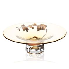 Womar Glass GE036050 Gold Orchid Decorative Bowl #ATGstores #dreamroom