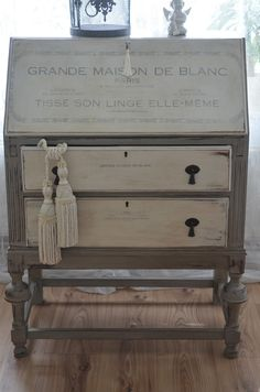 French painted gray and white secretary desk.