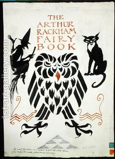 Arthur Rackham:An Owl, a Witch and her Cat, front cover for The Arthur Rackham Fairy Book, published 1933