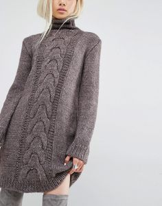 Изображение 3 из Oneon Hand Knitted Jumper Dress with Cable Detail
