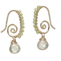Sicily 320 ~Green Amethyst & Peridot Spiral Earrings with Metal Choice