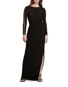 Lauren Ralph Lauren Sequined Lace Gown Women's Black 10