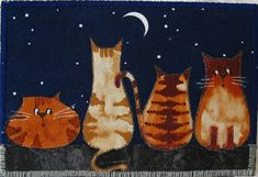 Quilted Fabric Postcard - Cats in the Moonlight