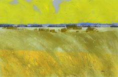 Original abstract minimalist landscape farmland painting - Summer soft