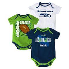 Infant Seattle Seahawks Navy 3-Point Spread Bodysuit Set