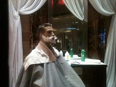 getting a shave at the Hard Rock in Hollywood Florida.