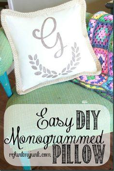 Easy DIY Monogrammed pillow using a Sharpie! #PMedia #StaplesSharpie #ad