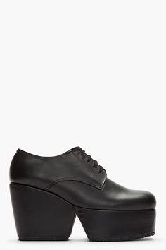 COMME DES GARÇONS Black Leather Derby Wedge Platforms