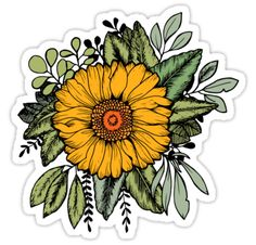Enjoy the beauty of sunflowers all year round!  Hand-drawn Sunflower on a bed of leaves. • Also buy this artwork on stickers, apparel, phone cases, and more.