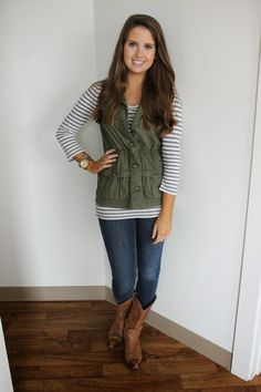 Green vest, Forever 21 navy and white striped shirt, Frye boots Fall Winter Outfits, Autumn Winter Fashion, Winter Style, Cowboy Boot Outfits, Cowboy Boots, Classy Outfits, Cute Outfits, Modest Fashion, Fashion Outfits