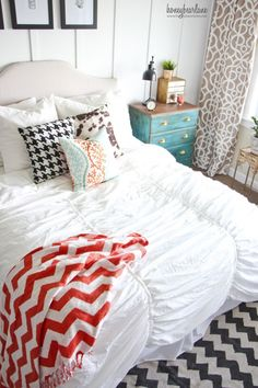 Master bedroom styling, love!   via @honeybearlane