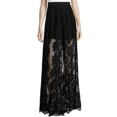 Alexis Lucrenzia High-Waist Lace Maxi Skirt ($548) ❤ liked on Polyvore featuring skirts, black, a line skirt, long skirts, black a line skirt, high waisted maxi skirt and a line maxi skirt